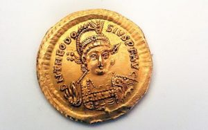 Rare 1600-year-old gold coin depicting the Byzantine Emperor Theodosius II discovered in February 2019 by pupils alongside the Zippori stream in the Galilee.