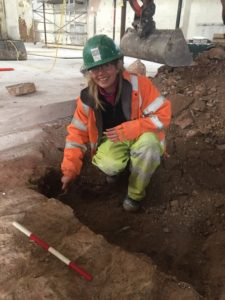 Archaeologist Silvia Criado at the dig on Wolborough Street