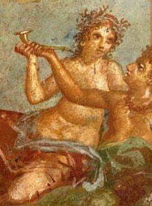Roman fresco with banquet scene (detail) from the Casa dei Casti Amanti (IX 12, 6-8) in Pompeii.