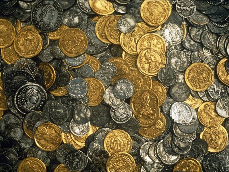 The gold and silver coins in the Hoxne hoard, found in Suffolk, date to the end of the Roman Empire in Britain at the start of the 5th century A.D.