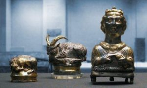 Three silver-gilt Roman piperatoria or pepper pots from the Hoxne Hoard on display at the British Museum