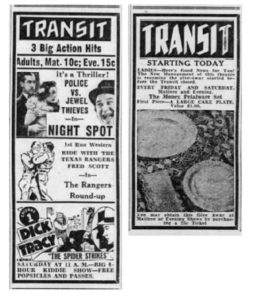 Transit Theater advertisement for the American films Night Spot (1938), The Rangers' Round-Up (1938), and chapter 1 of the film serial Dick Tracy (1937) – 27 May 1938 Morning Call, Allentown, PA.