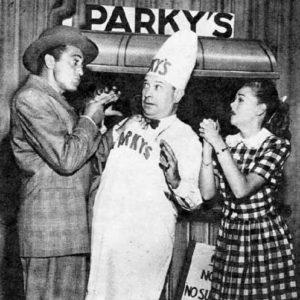 Einstein as Parky caught between Sheldon Leonard and Betty Rhodes in 1948.