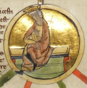 Depiction of Æthelwulf in the late-13th-century Genealogical Chronicle of the English Kings