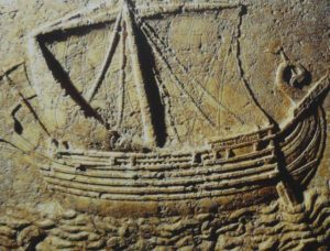 A carving of a Phoenician ship