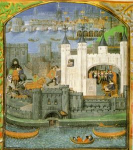 A depiction of the Tower of London from the 15th century, Courtesy of the British Library