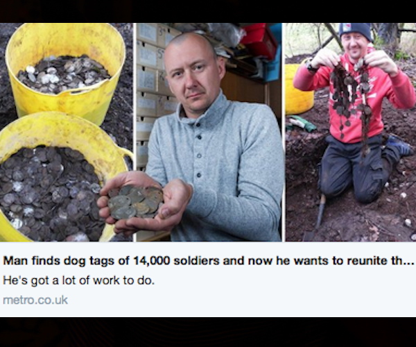 WWII Dog Tags Found Near London From More Than 14,000 Soldiers