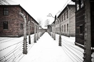 The Auschwitz concentration camp is located about 30 miles (50 km) from Krakow. The picture shows two rows of electrical barbed wire surrounding the camp on winter day.""