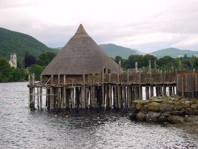 Reconstructed crannog near Kenmore, Perth and Kinross, on Loch Tay, Scotland