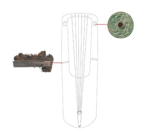 A reconstruction drawing of the Anglo Saxon lyre featuring the delicate repair work and garnet fittings