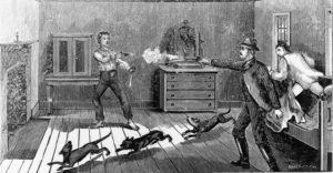 Billy the Kid meets his end at the hands of Sheriff Pat Garrett in Fort Sumner, New Mexico. This violent scene is the finale of G Waldo Browne's 'Dandy Rock, the Man from Texas'.