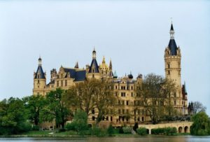 Schwerin Castle, located on an island in the lake of the same name, Schweriner See. It was for centuries the residence of the Dukes of Mecklenburg and today is the seat of the Landtag.