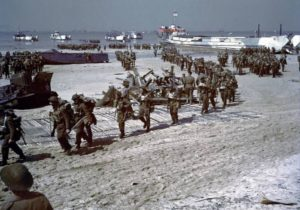 Canadian soldiers disembark at Juno Beach in Normandy, France during the D-Day invasion on June 6, 1944.