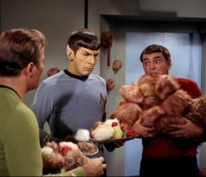 James Doohan, right, as Engineer Montgomery Scott, in a rare moment where his missing finger is visible on set of Star Trek.