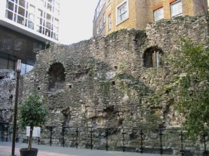 A surviving fragment of the London Wall behind Tower Hill Station (2005).