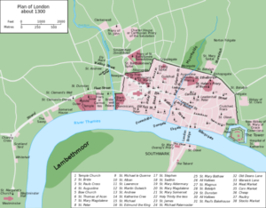 Map of London in about 1300.