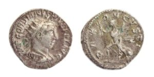 AR Antoninianus of Gordian III, struck Antioch 243-244 AD with Pax Augusta on the reverse.