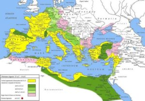 Extent of the Roman Empire under Augustus. Yellow represents the extent of the Republic in 31 BC, while green represents gradually conquered territories under the reign of Augustus, and pink areas represent client states.