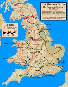 A map of the known Roman road network, highlighting the routes included in the Antonine Itinerary.