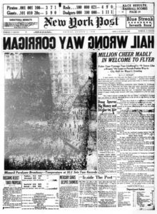 "New York Post headline ""Hail Wrong Way Corrigan"""