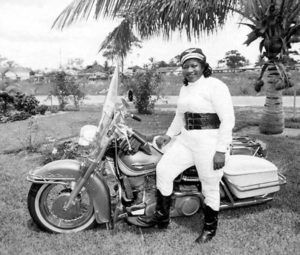 Bessie Stringfield poses with her metal steed.