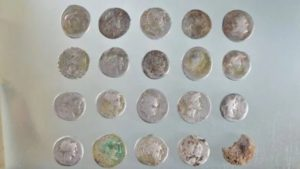 The coins dated between 153BC and AD61.