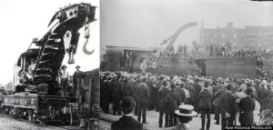 On the following day, a foggy and rainy September 13, 1916, Mary was transported by rail to Unicoi County, Tennessee, where a crowd of over 2,500 people (including most of the town's children) assembled in the Clinchfield Railroad yard.