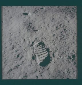 First human footprint on the Moon.