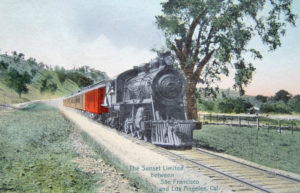 """Postcard photo of the Southern Pacific's """"Sunset Limited"""" train as it traveled between Los Angeles and San Francisco, c. 1910s."""