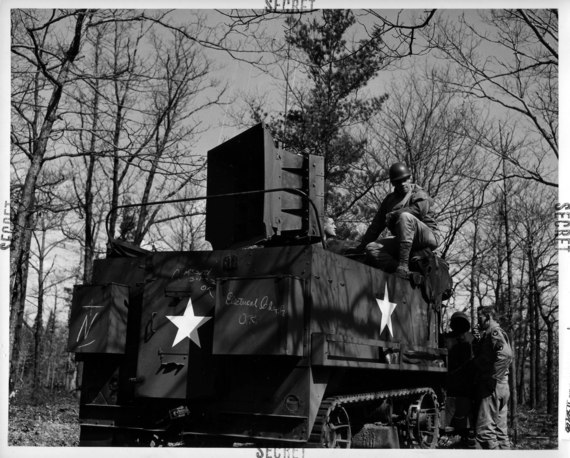 "A Ghost Army halftrack with a speaker mounted on the back for ""sonic deception"""