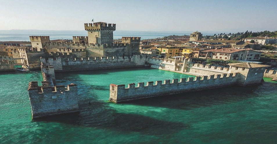 The Scaliger (Sinking) Castle in Lake Garda, Italy