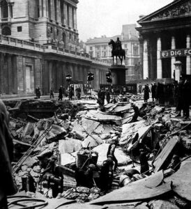 Heavy damage at Bank caused during one of London's raids