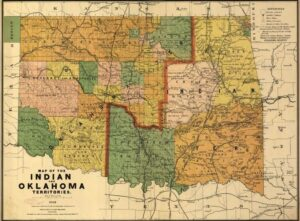 A map outlining the various Native American territories within Oklahoma. 1892.