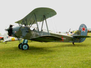 A Polikarpov Po-2 biplane, similar to the aircraft operated by the Night Witches during their missions.