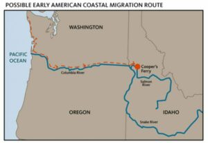 Possible first American Pacific coastal migration route.
