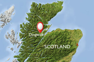 Map of Scotland, with Dingwall indicated. This is where the 11th century Viking parliament was discovered under a parking lot.