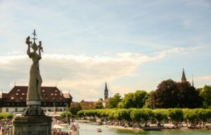 The town of Konstanz on Lake Constance: Imperia statue and port. Bodensee, Germany