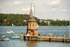 Lighthouse of Constance (Konstanz) on Lake Constance (Bodensee), Baden-Wurttemberg, Germany.