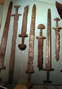 Swords from the Viking age, found in Sæbø, Hoprekstad, Vik i Sogn, Sogn og Fjordane county, Norway. Exhibited at Bergen Museum.