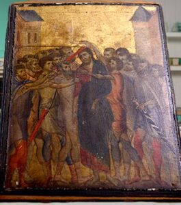 """The painting found – """"Christ Mocked"""" by Cimabue."""