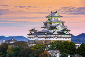 Himeji, Japan – The main keep of Himeji Castle. Founded in 1333 and rebuilt in the early 1600's, the castle is considered one of the best preserved in Japan.