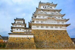 Himeji, Japan – May 16, 2015: Main tower of the Himeji Castle, the white Heron castle, Japan. UNESCO world heritage site after restauration and reopening.