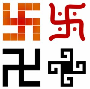 A swastika is a symbol found in many cultures, with different meanings, drawn in different styles.