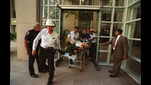 Victims coming out of the 101 California Street office tower