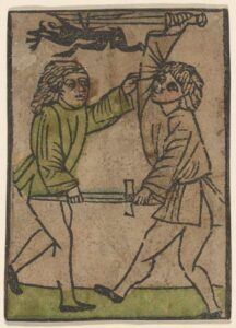 A 1450 illustration of two men fighting.