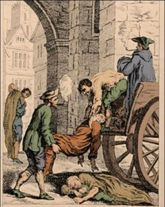The Great Plague of London in 1665. The last major outbreak of the bubonic plague in England.