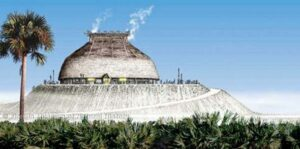 Artist's conception of the Calusa king's house in 1566. Image by Merald Clark. Courtesy of Florida Museum of Natural History