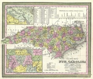 "An 1847 map of North Carolina showing the ""Gold Region."""