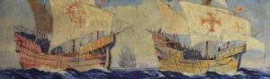 A detail of a painting of Spanish Caravels of the 16 th century by Frederick Leonard King, a 20 th century American painter