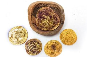 The hoard of gold coins discovered in Yavne.